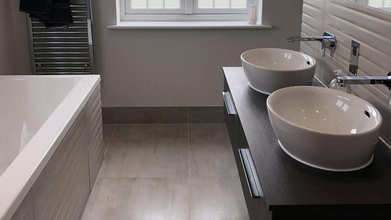 Residential stone bathroom flooring