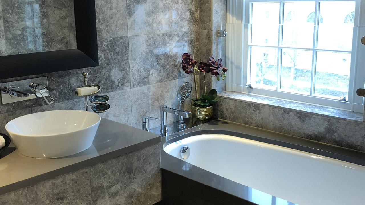 Stone tiled bathroom